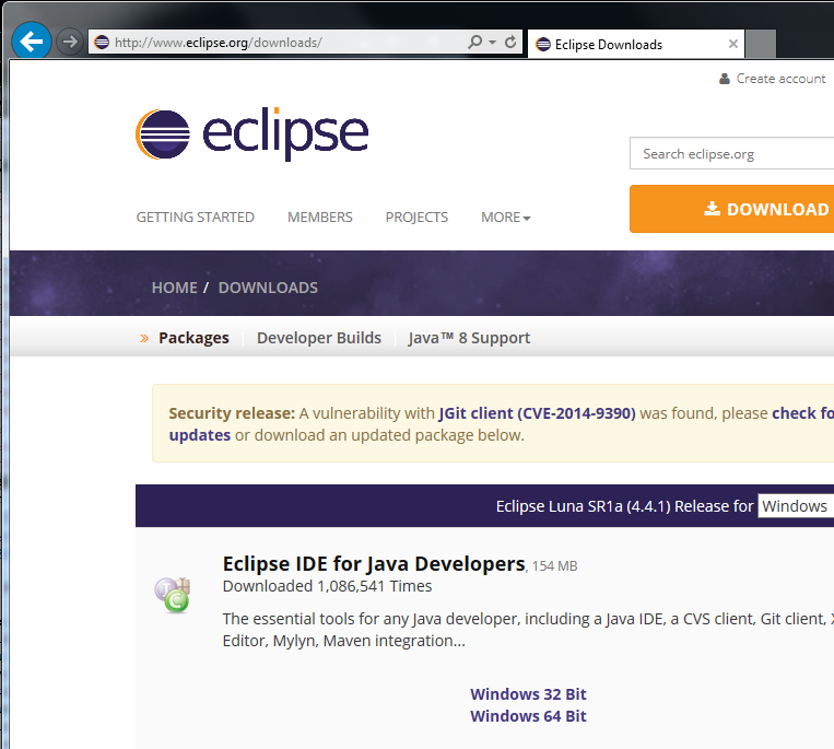 eclipse download zip file
